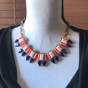 J. Crew Jewelry - J.Crew Coral and Blue Statement Necklace